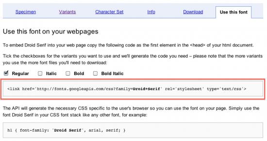 Google Fonts: Code für header.php