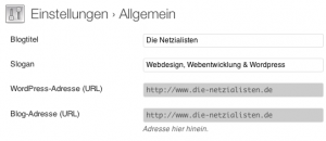 WordPress Blog-URL ändern