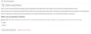WordPress Daten exportieren