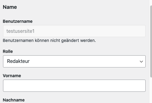 Screenshot Benutzerkonto: Man kann wieder Benutzerrollen zuweisen.