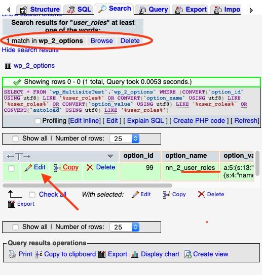 Screenshot des Suchergebnisses für den Begriff user_roles in der Tabelle wp_options.