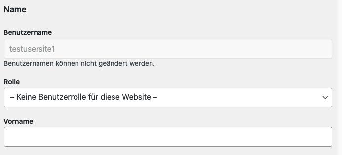 Screenshot Benutzerprofil: Es kann keine Benutzerrolle zugewiesen werden.